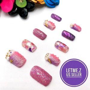 Press on Nails Glue On Mermaid Pink Purple Square